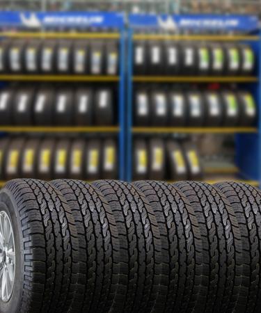 Close up tires for sell at the shop Lizenzfreie Bilder