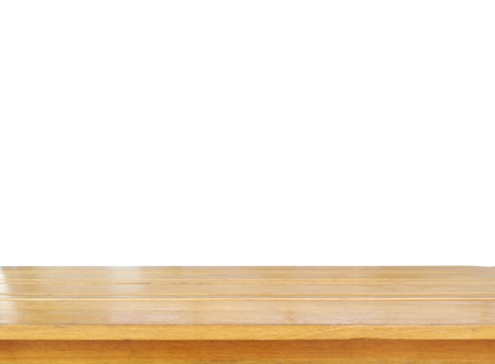 Empty wooden for put products or something isolated on white background