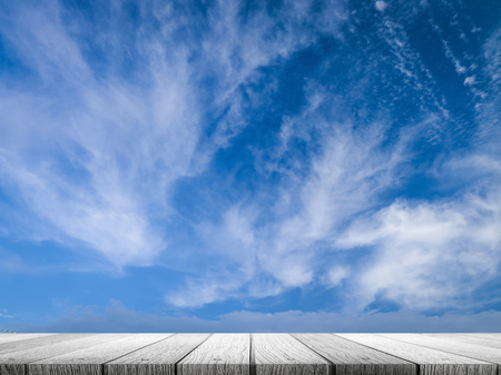 blue sky background with wooden