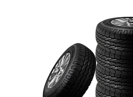 winter tires: Close up tires on white background