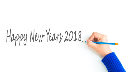newyears: woman hand show writing texts Happy Newyears 2018 Stock Photo