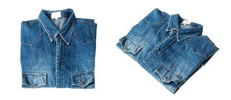 Close up blue denim shirt jeans on white