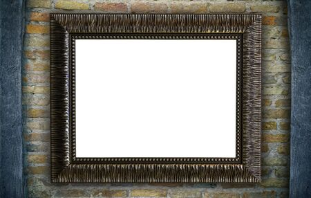 gallerie: Old picture frame on rustic brick wall background