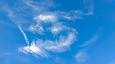 gloaming: Clear blue sky background with clouds Stock Photo