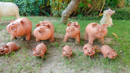 Beautiful Of Baked Clay Pig Statue And Decor In The Garden. Stock Photo    82988480