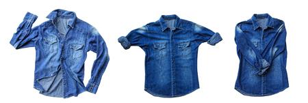 Close up blue denim shirt jeans isolated on white background Stock Photo