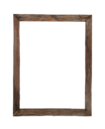 old photo: Wooden picture frame use for texts or products display isolated on white background Stock Photo