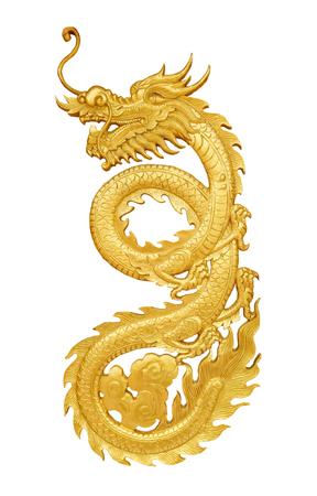 Schließen Sie herauf den goldenen hölzernen Handwerksdrachen, der auf weißem Hintergrund lokalisiert wird Standard-Bild