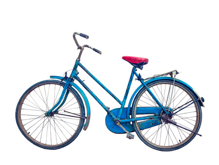 Close up old rustic blue bicycle isolated on white background Stock Photo