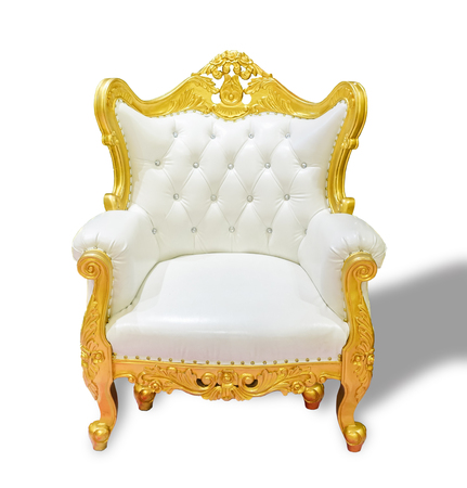 Luxury vintage golden white leather chair isolated on white background