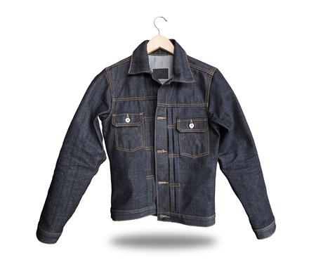 Blue denim jeans jacket isolated on white background
