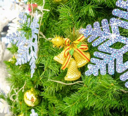 Close Up Christmas Tree With Color Ball Background Stock Photo