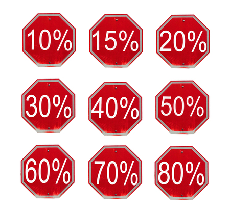 Discount numbers set. 10 off and 50 off percent  discount store signs Stock Photo