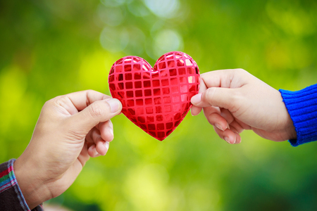 Human hand showing holding heart sign with background, Valentines day concept. Stock Photo