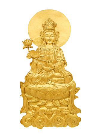 Close up Chinese God Guan Yin craft by golden wooden isolated on white background Standard-Bild