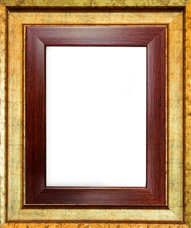Close up wooden picture frame background with sapce use for texts or products display isolated on white background
