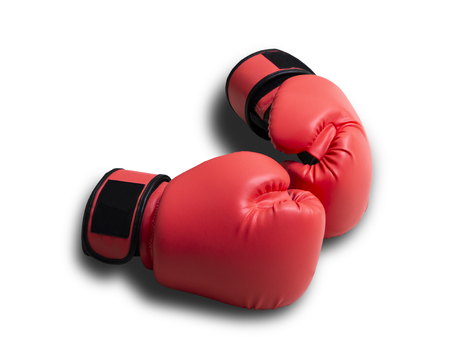 Close up red leather gauntlet boxing isolated on white background