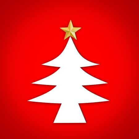 Close up white Chrismas tree icon with golden star on top and red background.