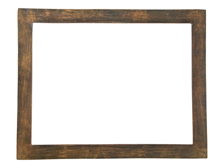 Close up rust picture frame isolated on white background