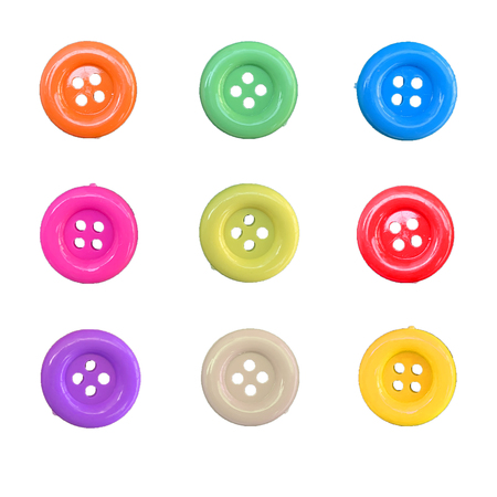 Correction of colorful button isolated on white background