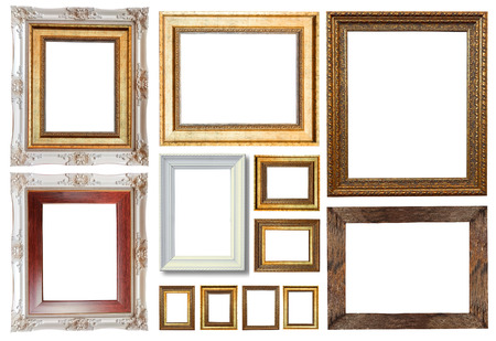 Group of luxury picture frame isolated on white background