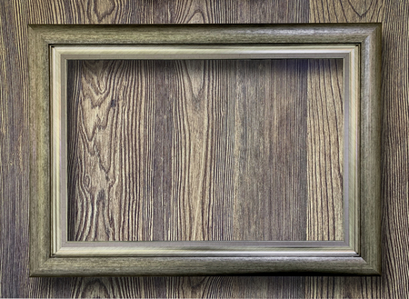 Close up rustic picture frame on wooden wall texture background Reklamní fotografie
