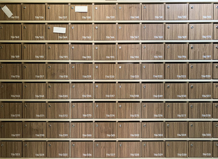 Close up brown wooden locker background in the school 版權商用圖片 - 122271705