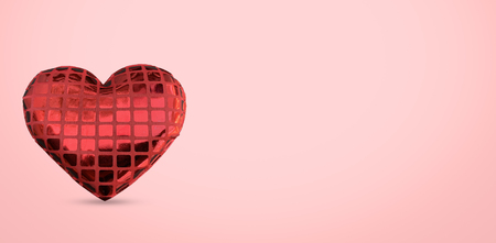 Close up heart sign isolated on pink background, Valentine day concept