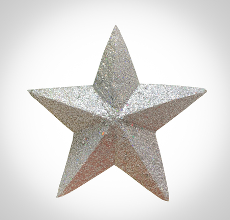 Close up glitter silver star isolated on white background