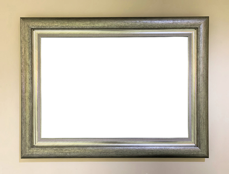 Close up gold rustic picture frame on wall background