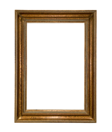 Close up old rustic wooden picture frame isolated on white background