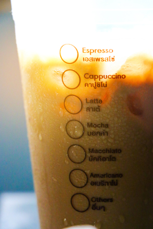 Close up coffee menu on the cup of ice coffee with space use for texts display