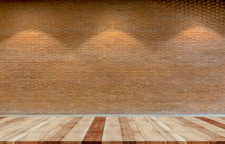 Close up brown rustic brick wall background with shelves use for products display Reklamní fotografie