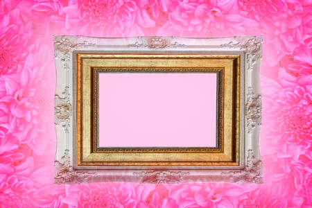 Close up pink flowers background with luxury picture frame use for texts display Reklamní fotografie