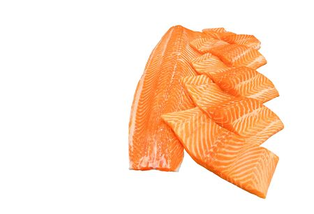 Close up salmon slice ready for cooking isolated on white background