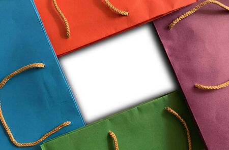 Close up colorful shopping bag background with space use for texts display