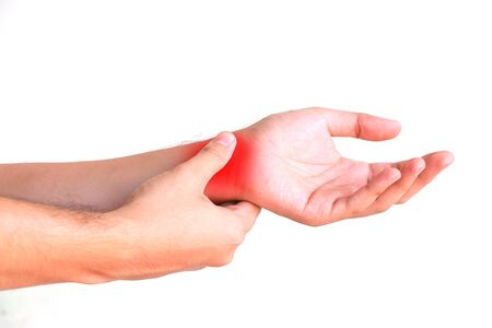 Close up man holding finger pain with red mark isolated on white background