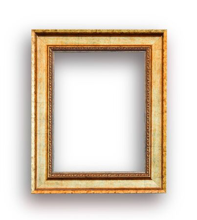 Close up luxury golden wood picture frame isolated on white with space use for picture or texts display or showing Reklamní fotografie - 125652657