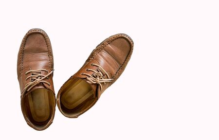 Old Brown leather shoes isolated on white background Reklamní fotografie - 132134261