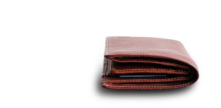 Close up old brown leather wallet isolated on white background Reklamní fotografie