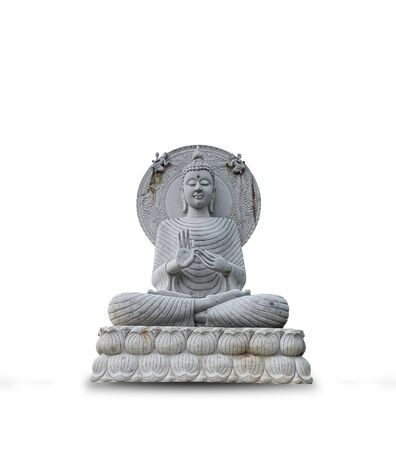 Close up white marble buddha statue isolated on white background