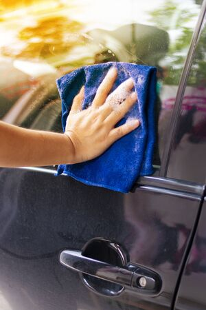Close up car cleaning and washing outdoor