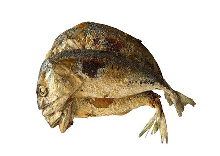 Top view close up of fried fish isolated on white background Reklamní fotografie - 132134268