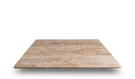 Close up wooden book shelves isolated on white background use for show products display