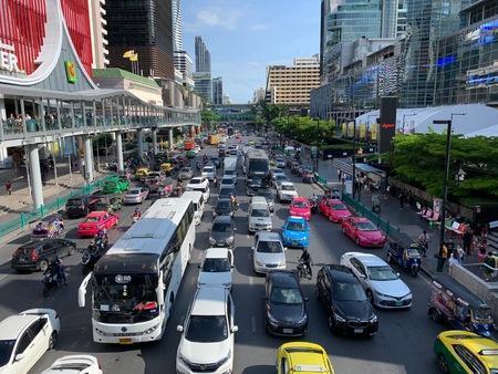 BANGKOK, THAILAND - JUNE 18, 2019 : Traffic jam on Rachadamri road in evening time. Editorial