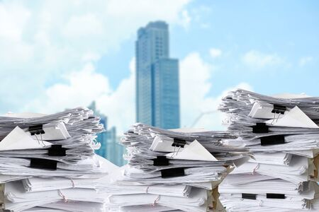 close up many stack of paper documents