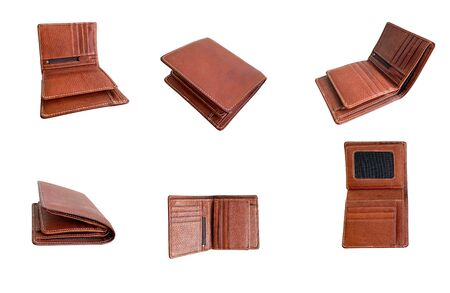 Close up brown leather wallet isolated on white background Stockfoto