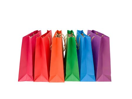 Close up many color shopping bag isolated on white background Standard-Bild