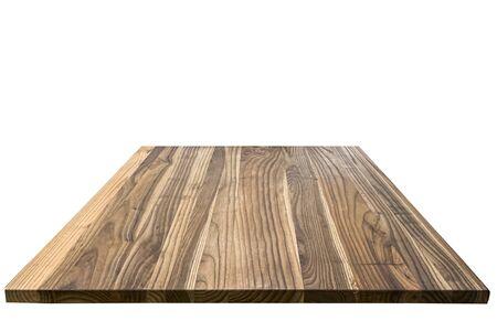 Close up wooden shelf isolated on white background Standard-Bild
