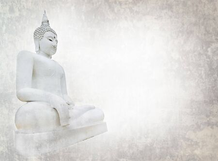 Close up white big buddha statue with space background